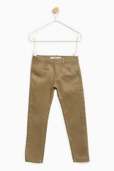 Pantaloni chino stretch tinta unita, Verde oliva, hi-res