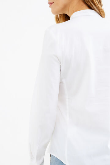 Shirt in poplin with pleating, Optical White, hi-res