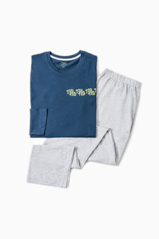 Solid colour pyjamas with lettering, Blue, hi-res