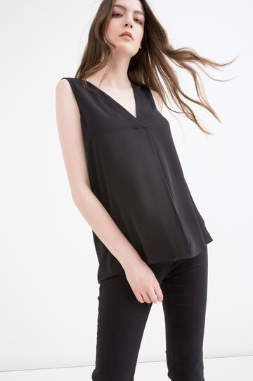 V-neck sleeveless blouse, Black, hi-res