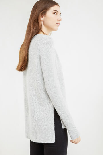 Solid colour stretch pullover with slits, Grey, hi-res