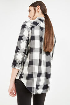 Checked cotton and viscose shirt, White/Black, hi-res