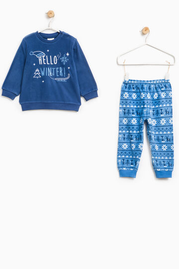 Fleece pyjamas with embroidery and print, Navy Blue, hi-res