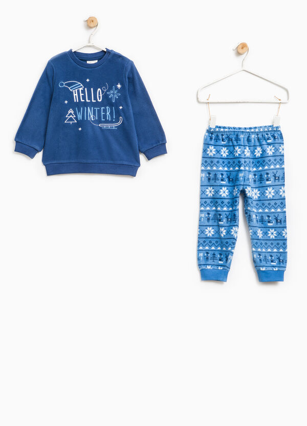 Fleece pyjamas with embroidery and print | OVS