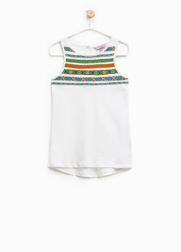 Cotton top with patterned patches | OVS