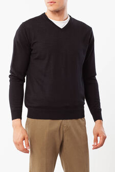 Pullover in wool blend, Black, hi-res