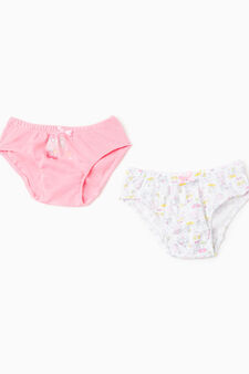 Two-pack printed cotton briefs, Pink, hi-res