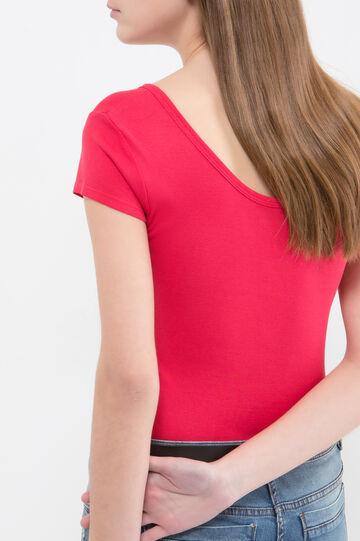 T-shirt puro cotone con borchiette, Rosso, hi-res