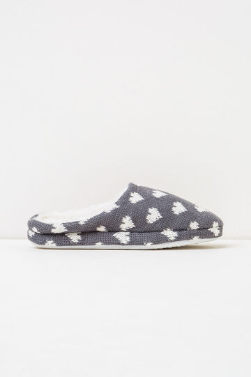Slippers with heart pattern, White/Grey, hi-res