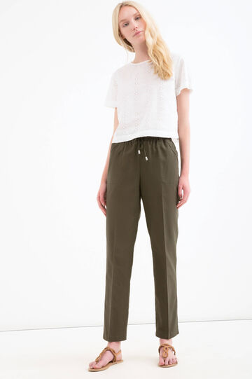 Cotton and linen trousers with drawstring, Green, hi-res