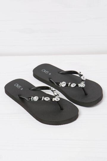 Solid colour thong sandal with diamanté detail, Black, hi-res