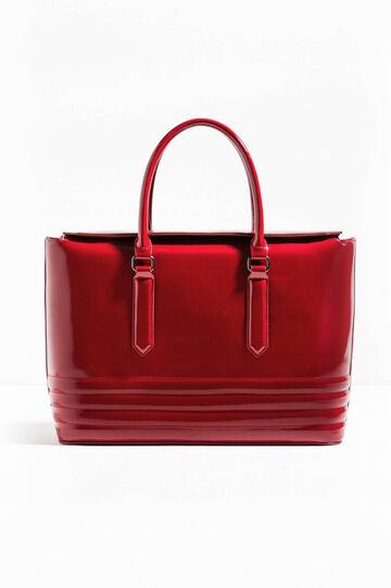 Glossy handbag with stitching, Dark Red, hi-res