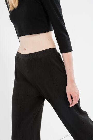 Pantaloni in costina tinta unita, Nero, hi-res