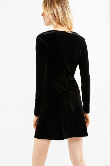 Stretch velvet V-neck dress, Black, hi-res