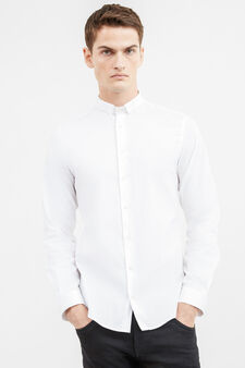 Solid colour custom-fit formal shirt, White, hi-res