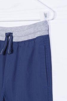 Bermuda shorts in 100% cotton with ribbing, Dark Blue, hi-res