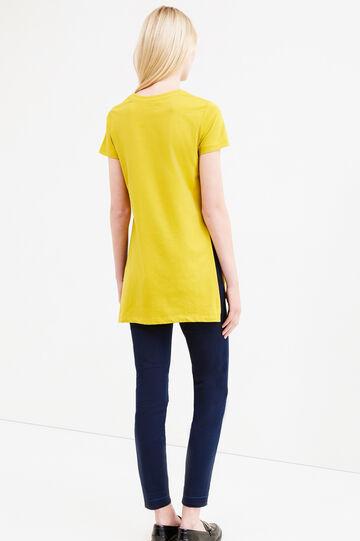 T-shirt lunga puro cotone con stampa, Giallo, hi-res