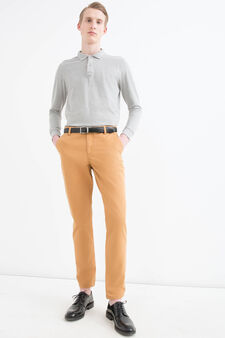 Regular-fit chino trousers in cotton twill, Tobacco Brown, hi-res