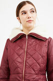Solid colour down jacket with fur lining, Red, hi-res