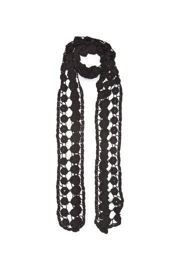 Crochet scarf in 100% viscose, Black, hi-res
