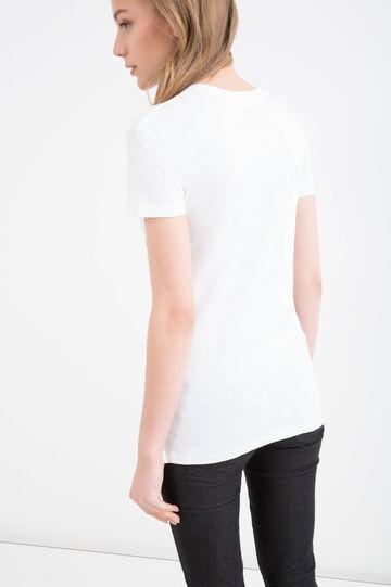 T-shirt in puro cotone stampata, Bianco, hi-res