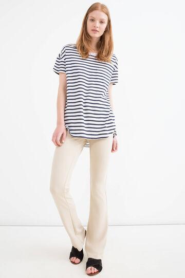 T-shirt cotone e modal a righe, Bianco/Blu, hi-res
