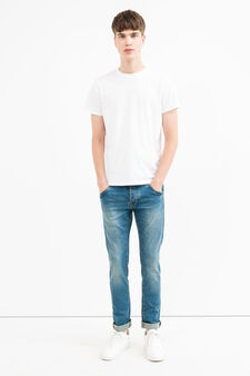 Slim fit, washed and faded-effect jeans, Medium Wash, hi-res