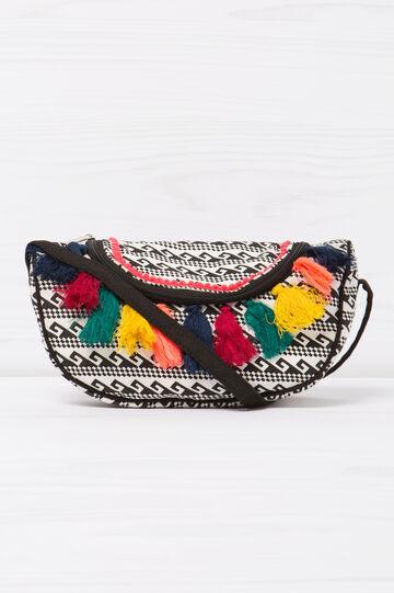 Patterned tassel shoulder bag, Black/White, hi-res