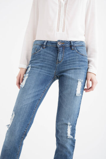 Slim fit stretch jeans with rips, Medium Wash, hi-res