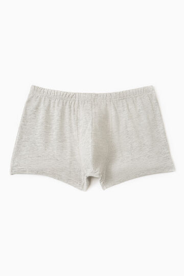 Cotton boxer shorts with elasticated waistband, Light Grey, hi-res