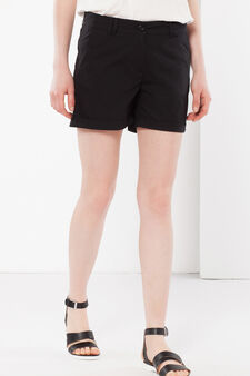 Shorts with cuffs, Black, hi-res