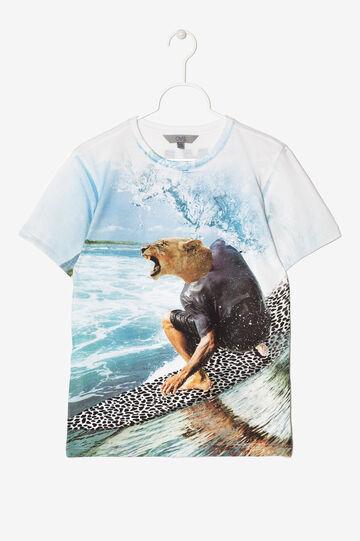 T-shirt con stampa su fronte e retro, Bianco/Verde acqua, hi-res