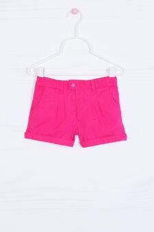 Shorts puro cotone plissettatura, Rosa fuxia, hi-res
