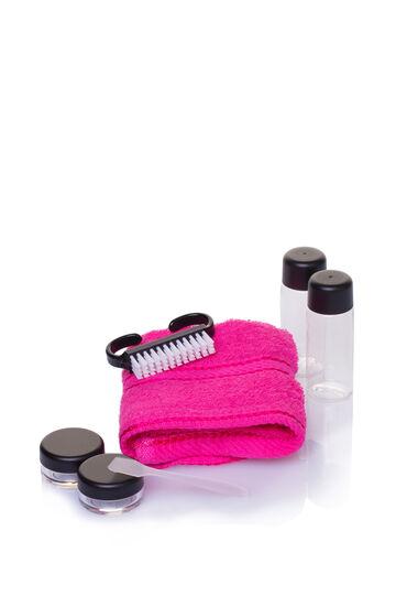 Travel kit with bag, Black/Pink, hi-res