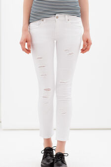 Stretch ripped jeans, White, hi-res