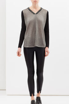 Two-tone T-shirt in stretch viscose, Black/Grey, hi-res