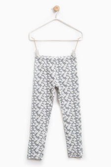 Patterned leggings in stretch cotton, Light Grey Marl, hi-res