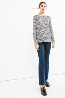 Stretch patterned sweatshirt, Milky White, hi-res