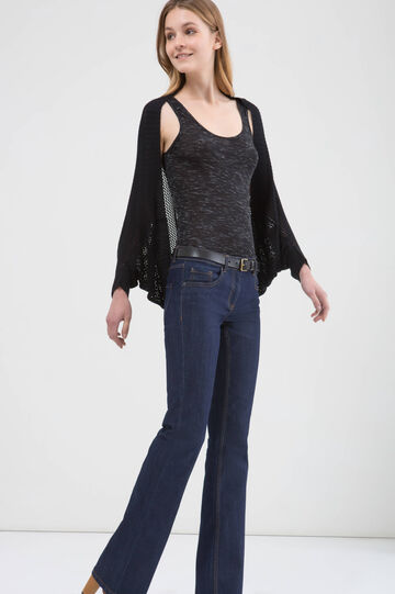 100% viscose openwork cardigan, Black, hi-res