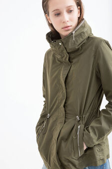 Solid colour parka with hood., Green, hi-res