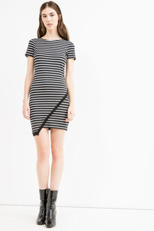Stretch cotton dress with boat neck, White/Blue, hi-res