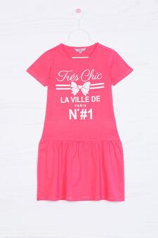 Printed dress in 100% cotton, Coral Pink, hi-res