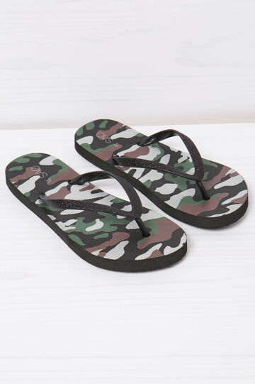 Thong sandals with camouflage print, Black, hi-res