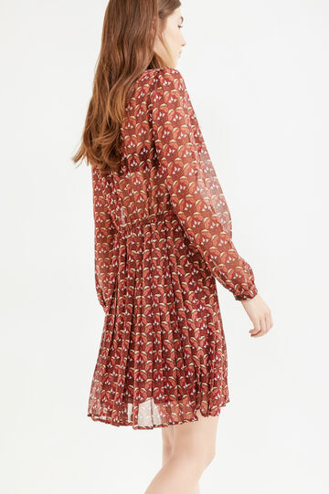 Semi-sheer patterned dress, Claret Red, hi-res