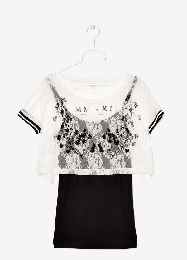 Lace T-shirt with contrasting vest | OVS