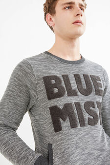Mélange sweatshirt with G&H letter patch, Grey Marl, hi-res