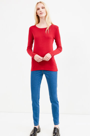 Solid colour T-shirt in 100% cotton, Red, hi-res