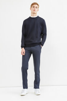 Solid colour pullover with round neck, Navy Blue, hi-res