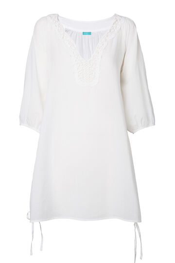 Solid colour cotton beach cover-up, White, hi-res