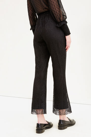 Stretch lace cropped trousers, Black, hi-res